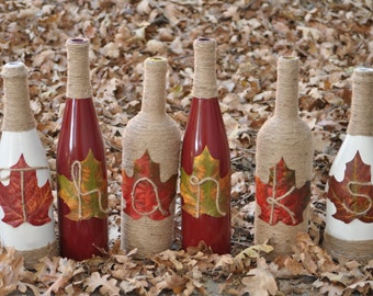 Thanks Wine Bottles - Give Thanks Wine Bottles - Thanksgiving Center Piece - Thanksgiving Wine Bottles - Fall Centerpiece