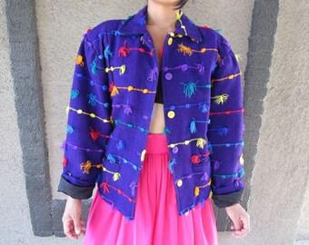 Purple multi-color palm-palm Jacket