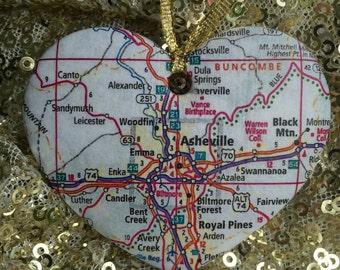 Asheville Map Ornament
