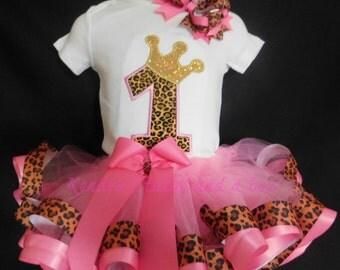 Cheetah print First 1st birthday tutu set Pink or Red