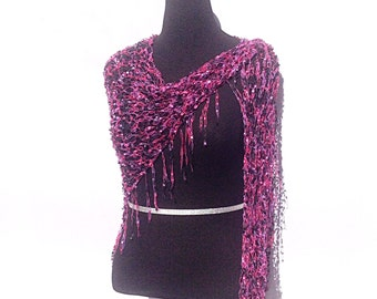Dazzling Illusions Shawl or Scarf in Pink and Purple