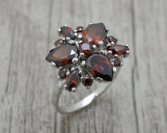 Silver ring with stones, ring BlumeTitel