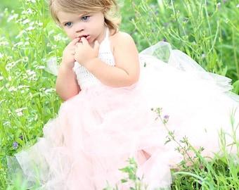 The Peach Blossom - ivory/peach tutu dress