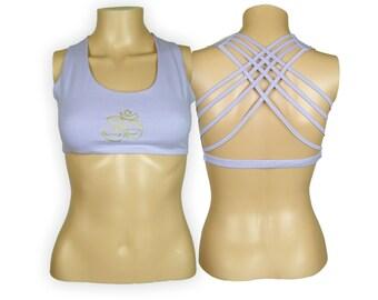 Om Lavender Yoga Bra Top - Om Criss Cross design workout bra - Athletic bra - sports bra - Hot Yoga Bra Top - Lycra Cotton Blend