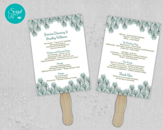 Peacock Wedding Paddle Fan Program Template