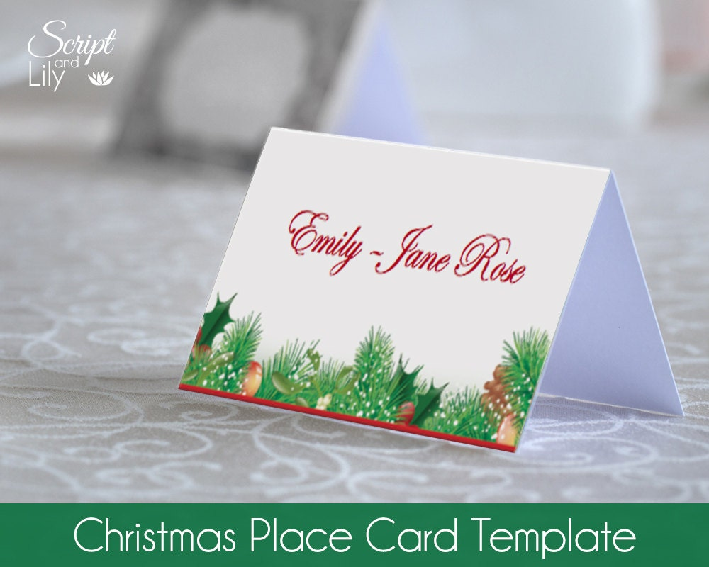 Name Card: Christmas Place Name Card Template Easy To Edit & Print At