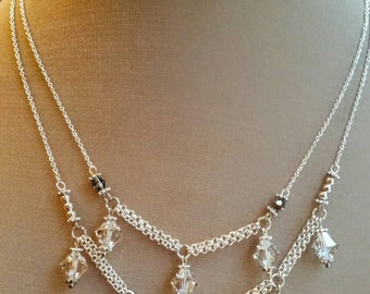 Multilayer crystal silverplated charm necklace,  crystal bridal necklace, dainty crystal bridesmaids jewelry