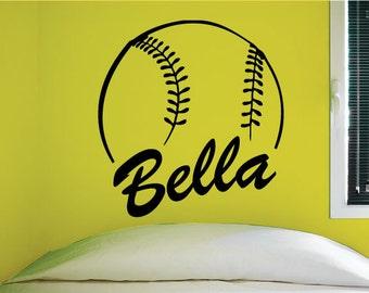 Custom Softball Name Wall Decal, 0125, Personalized Softball Name Wall Decal, Girls Softball, Softball Custom Name