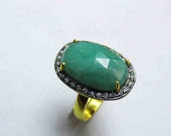 20% VALENTINES SALE Natural Emerald Rose Cut Ring, Emerald CZ Ring, 925 sterling emerald ring, emerald Cz ring Adjustable Emerald ring Perfe