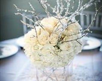 Iced Branches Wedding Centerpiece Decor Bridal Crystals Gems Winter Wonderland!
