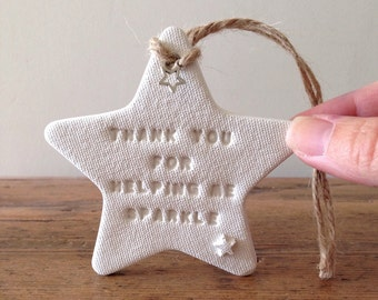 Teacher's gift / white clay star / Christmas gift / end of term gift