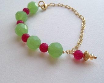 Beaded bracelet   gold chain bracelet   trendy bracelet   green bracelet   pink bracelet  