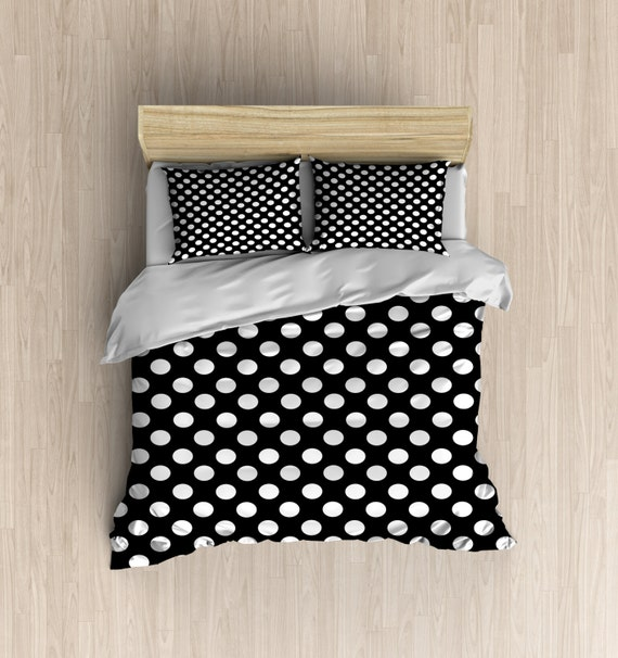 black polka dot duvet cover black and white bedding. Black Bedroom Furniture Sets. Home Design Ideas