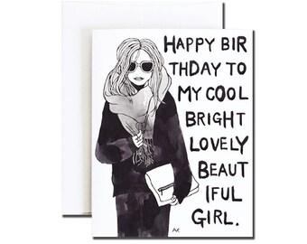 Friend Birthday Card Her / Birthday Card Bestie/ Best Friend Birthday Card/ Minimalist Birthday Card/ Girlfriend Birthday Card/ Card for Her