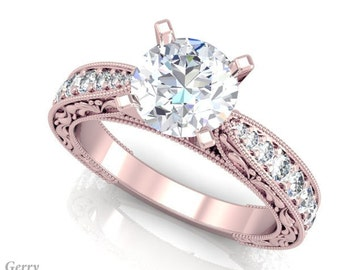 Vintage Forever One Moissanite Engagement Ring - 14k Rose Gold Vintage Diamond & Moissanite Ring