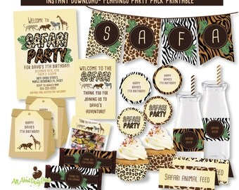 PDF format-Instant Download-Safari Birthday Party Printable-Complete Party Pack-for personal use only-digital file