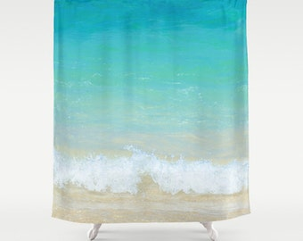ocean shower curtain hawaiian beach shower curtain turquoise bathroom ocean tropical