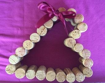 Wine Cork Heart with Ribbon
