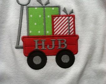 Christmas Wagon Applique Tshirt or One Piece Bodysuit! Adorable!!!