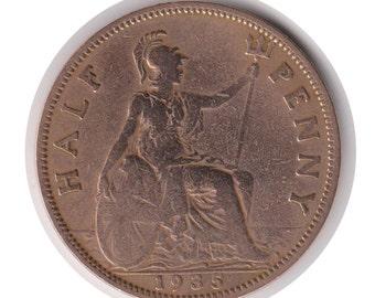 George V Half Penny 1935 Coin (Polished) (Code: JMC1853)
