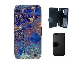 Wallet phone case iPhone 6 6S 8 X 7 Plus, SE 5S 5C 4S Samsung Galaxy Flip S8 S7 S6 Edge Plus S4 S5 Mini Note 5 vintage Mandala cover. F223