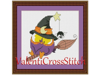 Halloween Owl Cross Stitch Pattern, Cross Stitch Patterns, Owl, Halloween