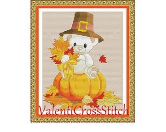 Halloween Teddy Cross Stitch Pattern- Autumn-Baby-Teddy-Halloween-Cross Stitch-Pattern-Patterns