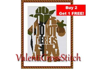 Star Wars Cross stitch pattern, PDF counted cross stitch pattern, Yoda,
