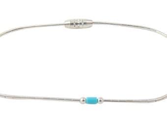 Liquid Silver Turquoise Bead Bracelet