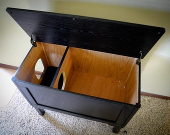 Oversized Ebonized Oak Cat Box with Legs