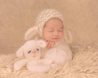 Knitting PATTERN- Knitted Lace Lamb Bonnet
