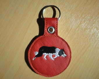 Embroidered Border Collie / Sheepdog Keyring