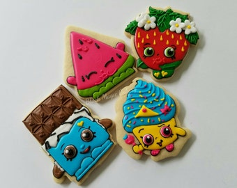 Decorated shopkins cookies for birthdays baby showers slumber party