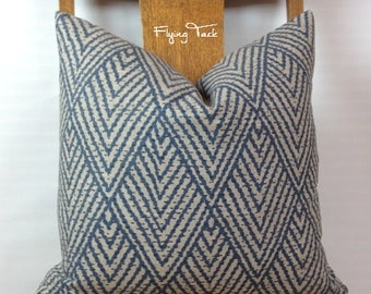 "Blue Chevron Ikat Pillow cover on ""Greige"" Background - Knife Edge finish - Grey - Beige - Lacefield Tahitian Stitch"