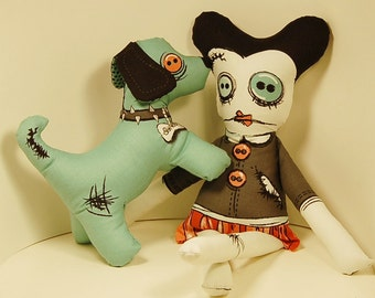 Zombie Apocalypse Dolls Zoe and Dog Bones Walking Dead Undead