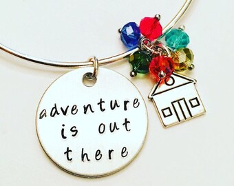 Adventure is Out There Disney Pixar Up Inspired Stamped Adjustable Bangle Charm Bracelet