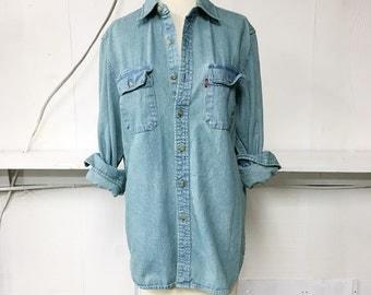 Overdyed Frosted Mint Vintage Levis Denim Shirt