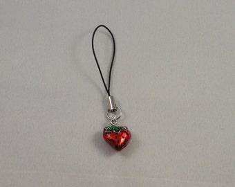Strawberry mobile phone charm on black cord
