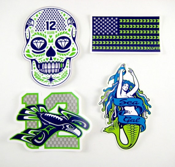 Cool Seattle Seahawks Vinyl Stickers Pack 1 by ...