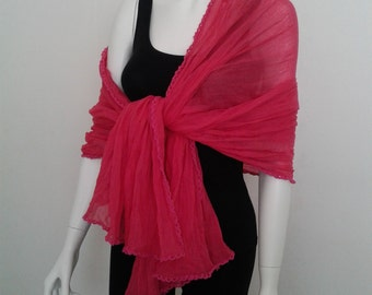 Fuchsia cotton Stole Shawl Wrap Scarf for women.
