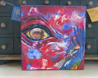 "Mixed Media Collage Art ""Parrot Eyes"""