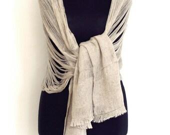 Pure Soft Linen Fibre Chic Etheral Shawl/ Linen Gauze Scarf/ Wrap width 50cm x  lenght 160cm