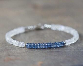 Rainbow Moonstone & Kyanite Bracelet, Moonstone Bracelet, Kyanite Jewelry, Beaded Gemstone Stacking Bracelet, Sterling Silver Gold Fill