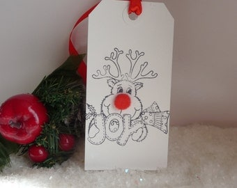 10 Large handmade Rudolph the red nose reindeer Christmas Gift Tags luggage