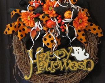 Halloween Grapevine Wreath with Orange Happy Halloween Sign