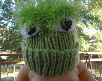 "Green Oscar the Grouch ""Sesame Street"" Toddler Knit Hat"