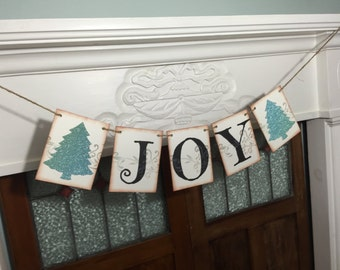 Joy Banner, Christmas Banner, Christmas Photo Prop, Mantle Decoration, Rustic Banner