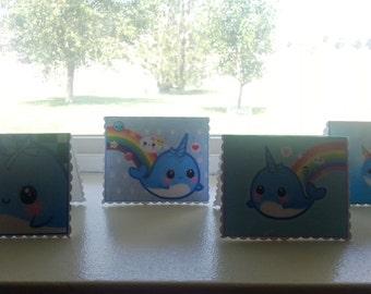 Kawaii Norwhale Norwal Norwhal Mini Gift Card Enclosure Tag Set, Super Cute!!