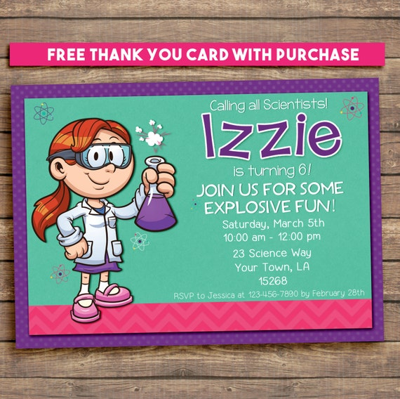Birthday science party invitation. 5x7 Girl Scientist. Free thank you note!