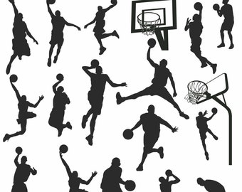 Basketball Player Silhouettes Clipart, Basketball Sport Silhouette Clipart, Basketball Clipart, Basketball Silhouette Images, PNG JPG EPS